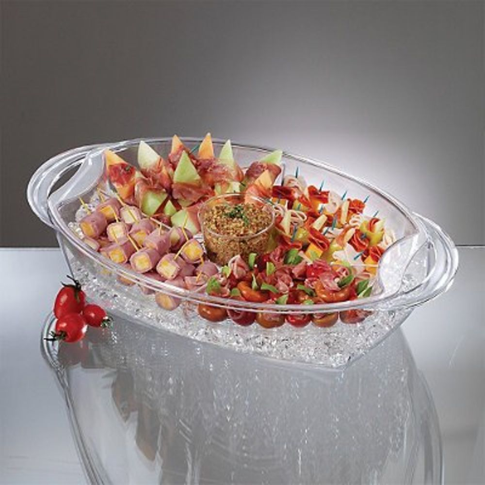 Buffet On Ice 4 Compartment Food Tray Chiller with Dip Cup