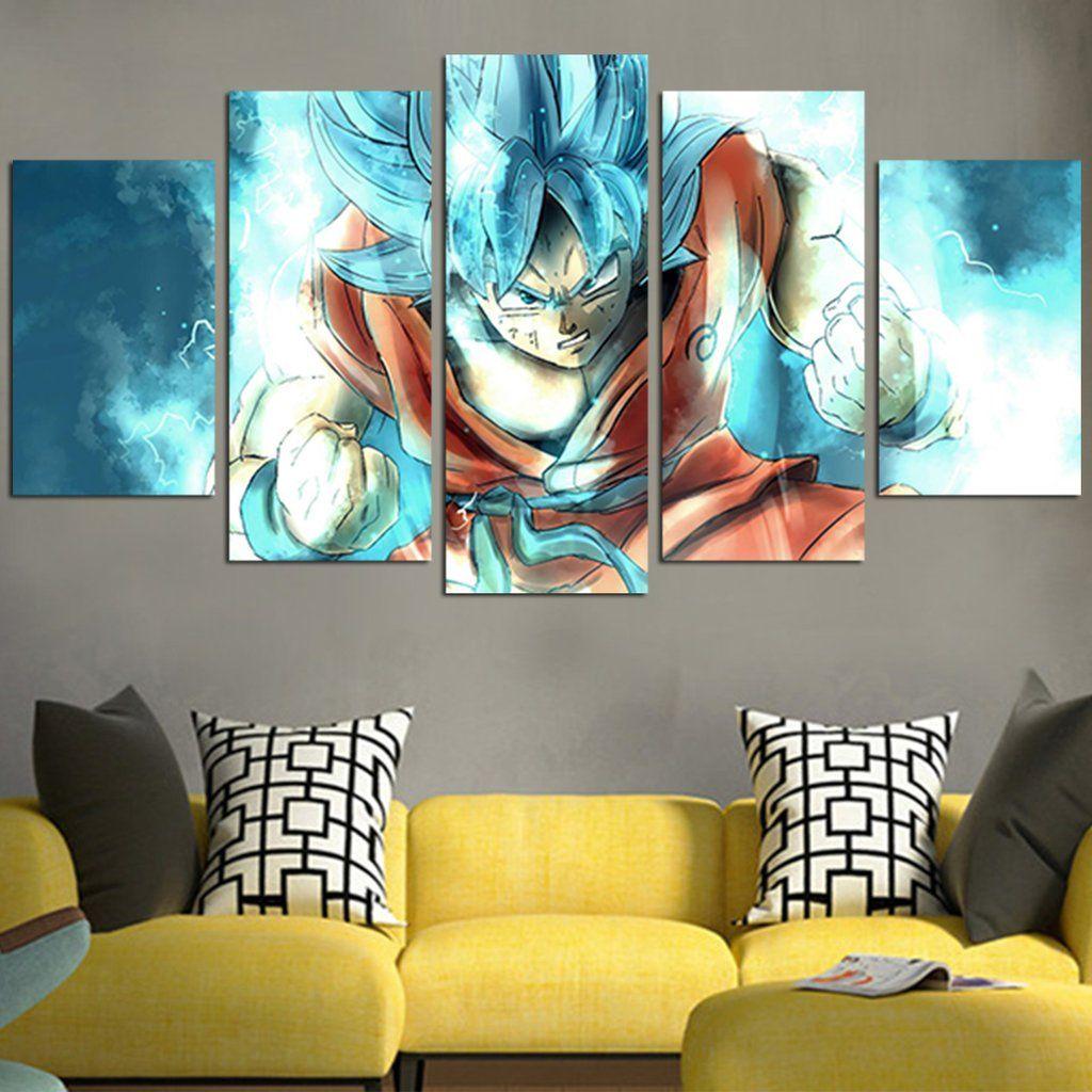 Dragon ball goku ssj blue wall art canvas canvas wall