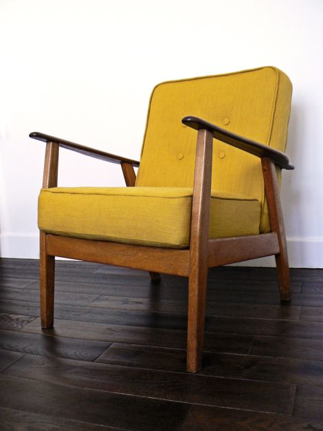 Charming 1960s Armchair With Wooden Frame And Box Cushions, Re Upholstered In  Mustard Linen.