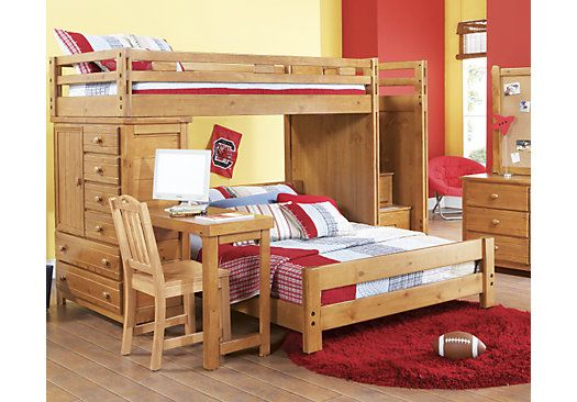 Creekside Taffy Twin Full Step Bunk Bed With Desk Bunk Bed With Desk Bunk Beds With Stairs Cool Bunk Beds