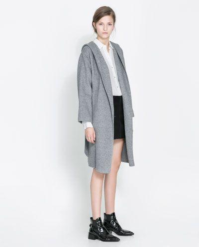 Zara Abrigos Envolvente Mujer España Abrigo Capucha Winter wqHp4aa