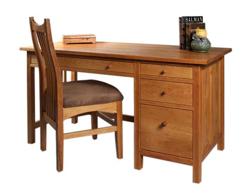 Cherry Custom Home Office Desk Throughout Custom Home Office Craftsman Desk With Artisan Chair In Natural Cherry