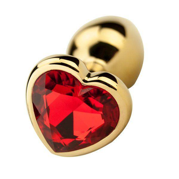 Precious Metals Gold Heart Ruby Jewelled Butt Plug -4839