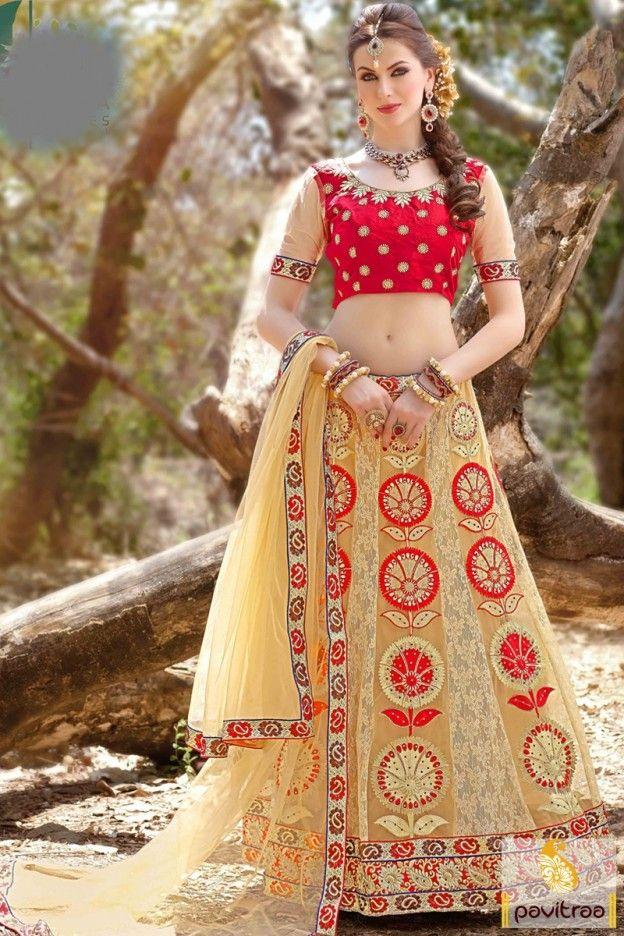 Net banglori silk fabric beige red heavy stone work lehenga ghagra choli online shopping with cash on delivery in India. Rich embroidered and royal zari work chaniya choli with discount. #saree, #lehengacholi more: http://www.pavitraa.in/store/lehengha-choli/