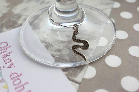 Snake / Harry Potter inspired Wine glass charm by OhKayDohKay