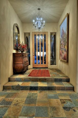 Traditional Entryway with Carpet, Chandelier, High ceiling, slate tile floors