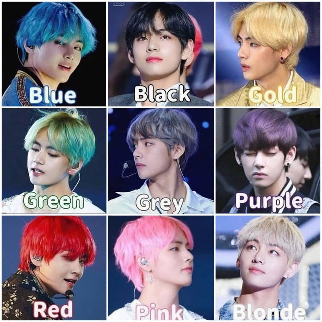 Bts Army Family On Instagram Which Color Is Your Fave On Tae Follow Bts Lover 20 Kimt In 2020 Bts Hair Colors Green Hair Colors Which Hair Colour