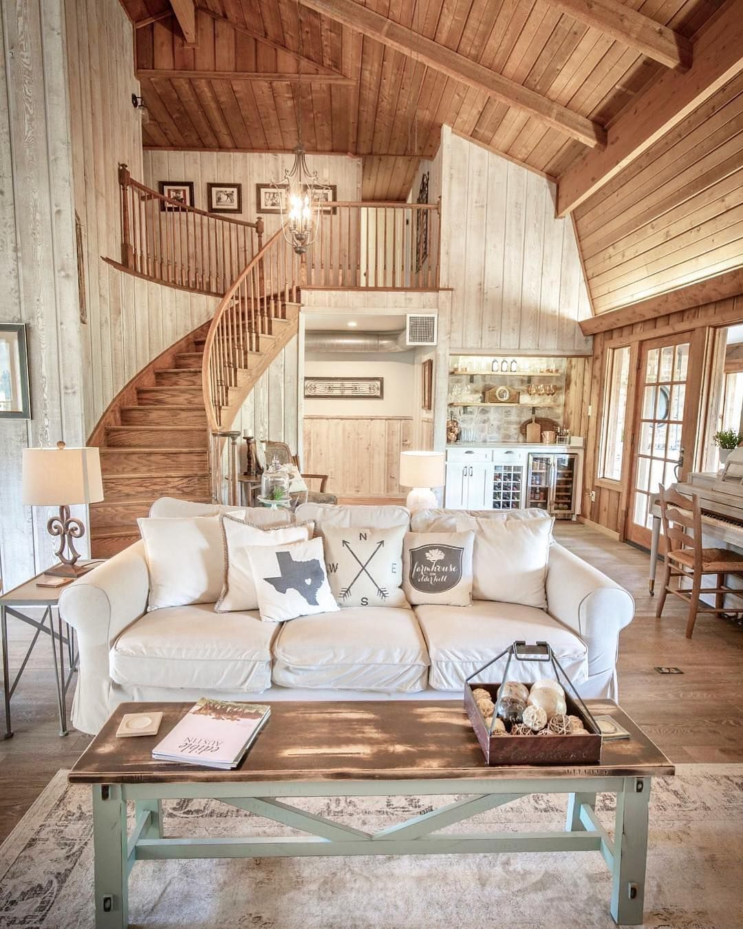 Farmhouse Fanatics On Instagram What Do Y All Think About This Country Style Cabin Interior Design Living Room Farmhouse Interior Farmhouse Interior Design