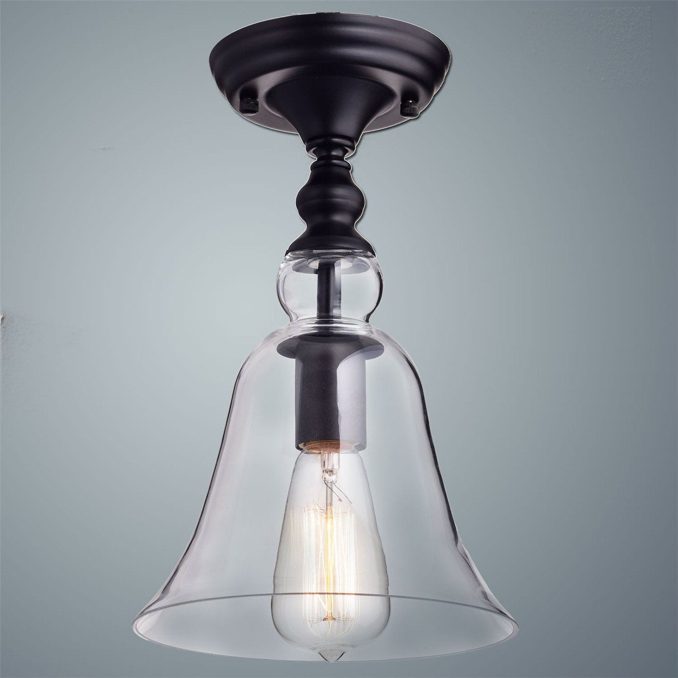 CLAXY Ecopower Vintage Hanging Big Bell Glass Shade Ceiling Light- 1 ...