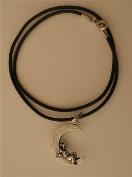 Giovanni Raspini Charms & Co 925 Silver Moon with Angel on Cord