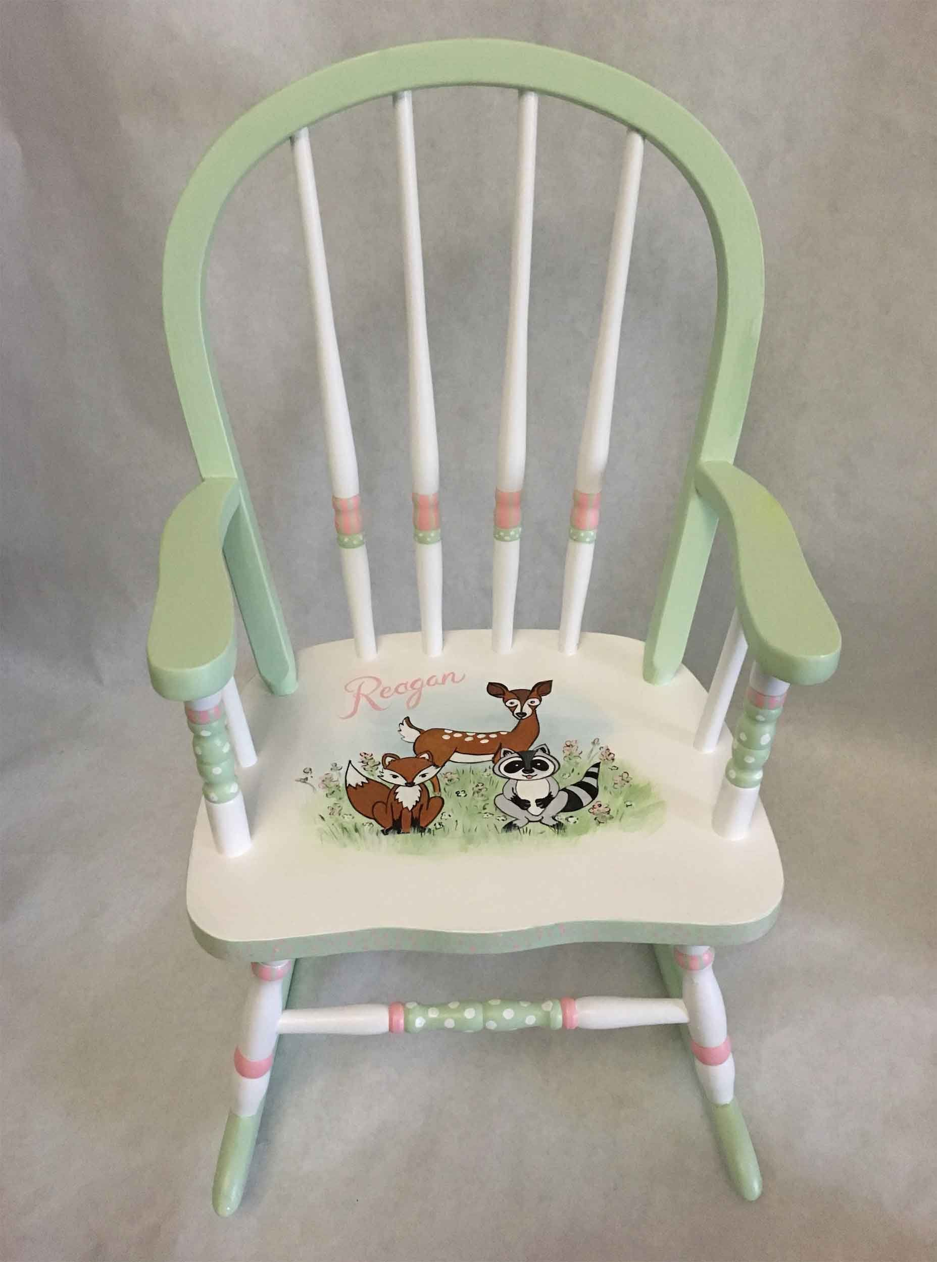 Child S Rocking Chair Hand Painted Furniture Kids Baby Gift Woodlands By Babydreamdecor On Etsy