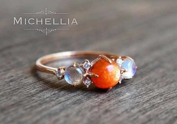 Ombre Gemstone Bracelet Sun and Moon Jewelry Moonstone Sunstone Gemstone Beaded Bracelet Sun and Moon