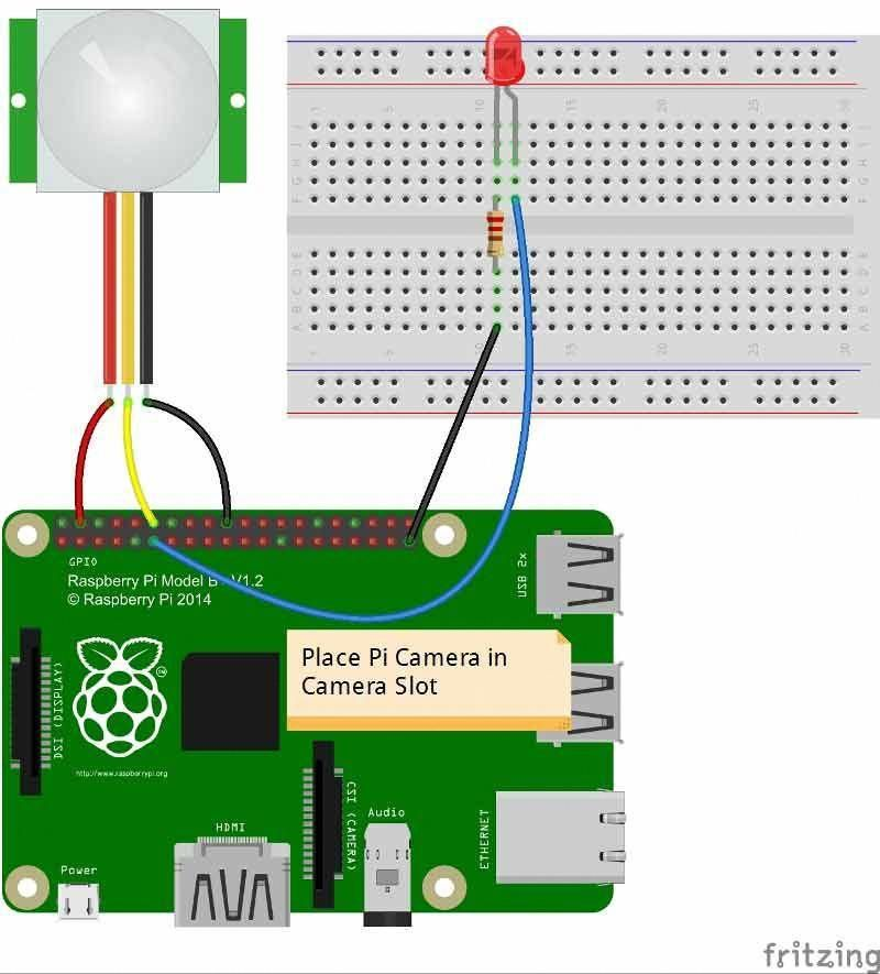 Fritzing Diagram for IOT based Raspberry Pi Home Security System
