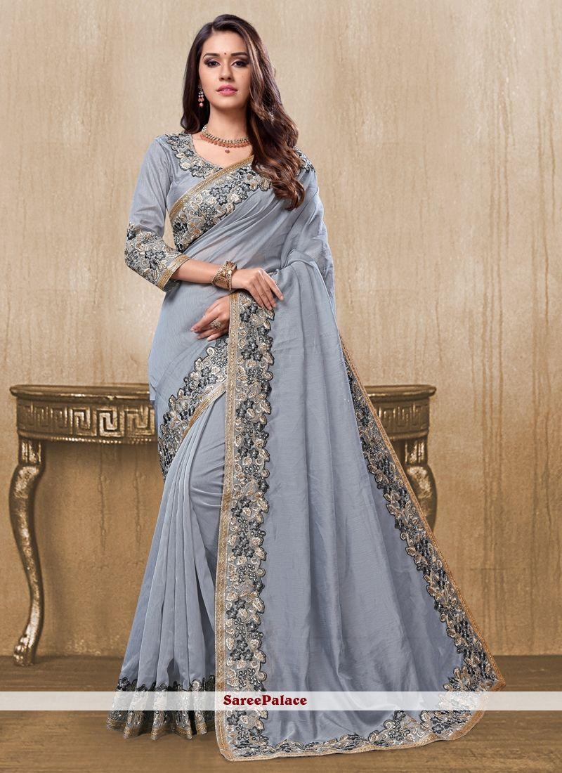 Tissue silk saree blue patch border tissue designer saree in   indian fashion