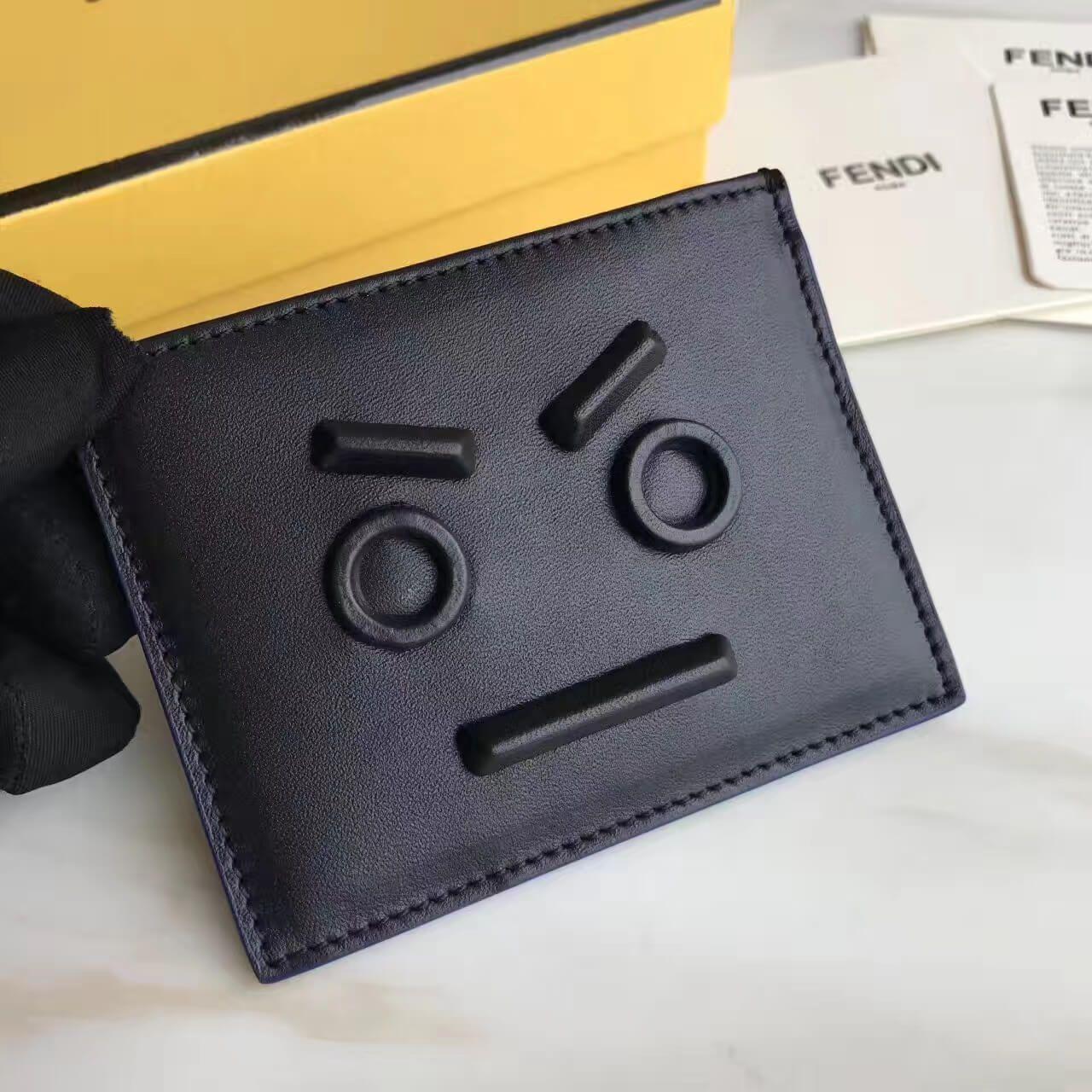Fendi calfskin card threeslot card holder with no words