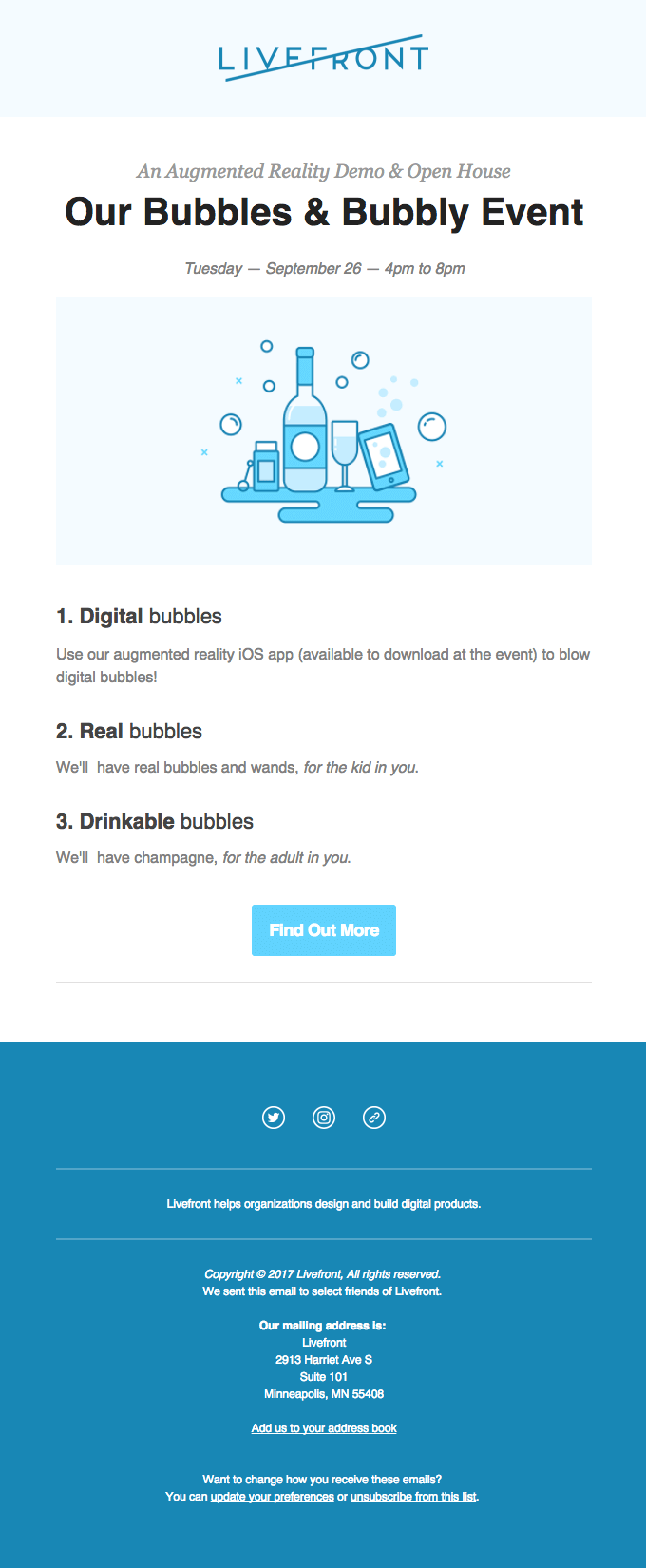 Event invitation email for Livefront augmented reality