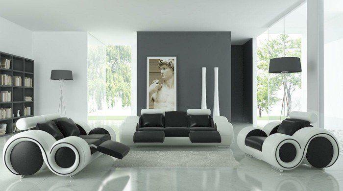 nice Déco Salon - salon gris et blanc, déco combinée avec des