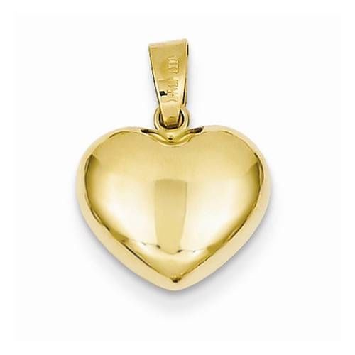 New solid 14k yellow gold puff 3d heart charm pendant for necklace new solid 14k yellow gold puff 3d heart charm pendant for necklace 16mm x 12mm traditional aloadofball Image collections
