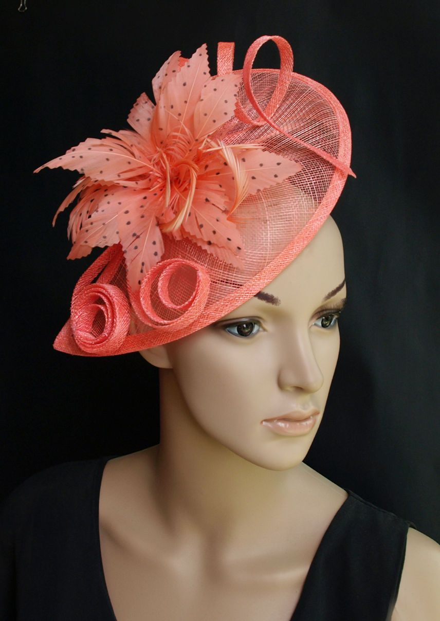 8b052d7486a6d Coral Sinamay Wedding Fascinator Hats Corsage Flower Feather Hair Band  Headband