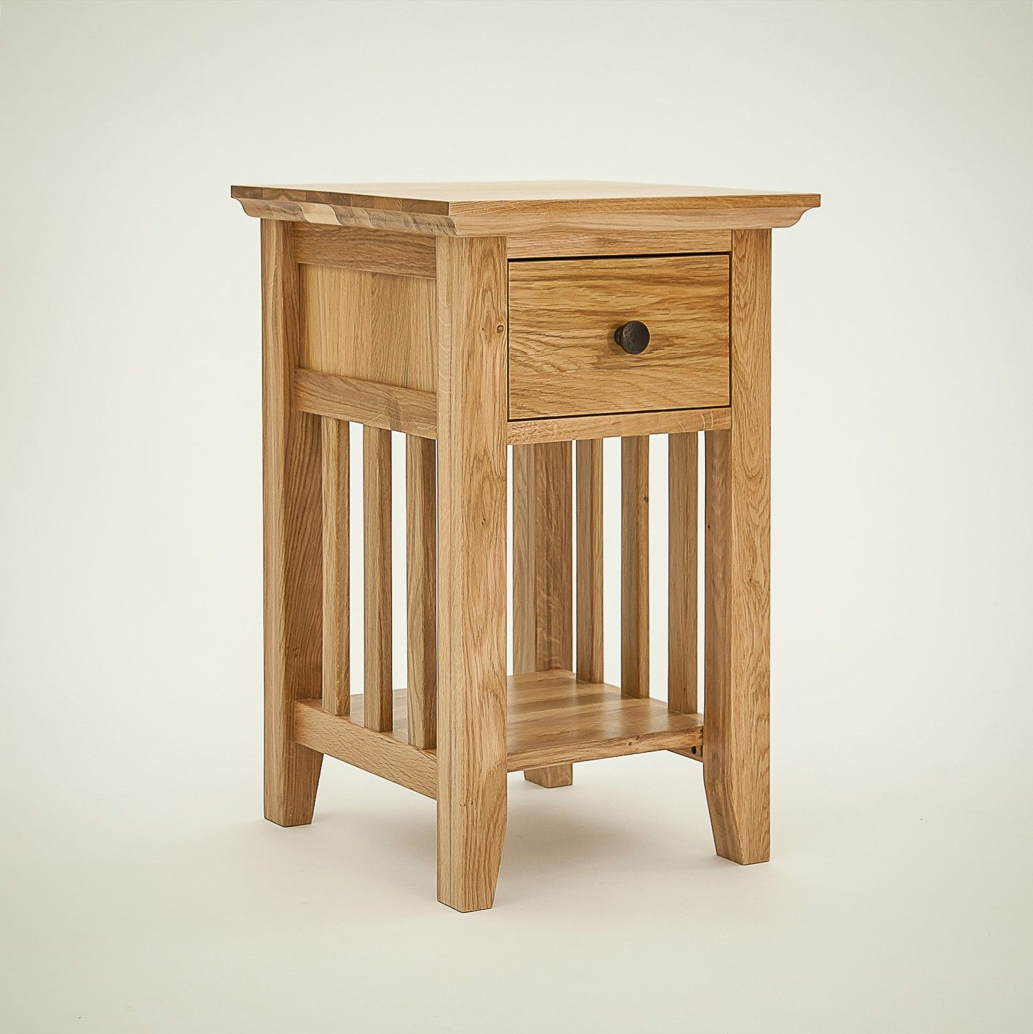 Rustic Oak 1 Drawer Narrow Bedside