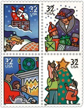 1996 Usa Christmas Stamps Commemorative Stamps Stamp
