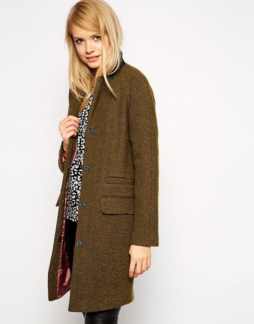 Image 1 of ASOS Coat With Clean Collar And Contrast Lining