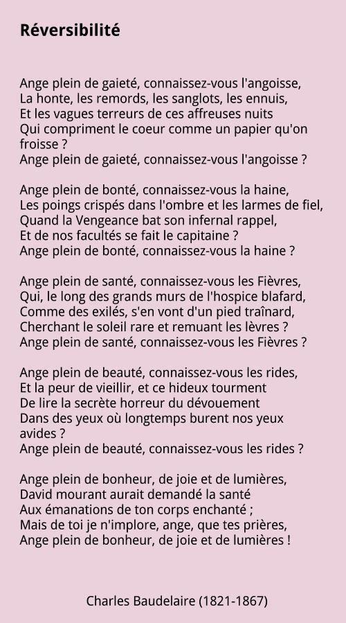Charles Baudelaire Réversibilité Poeme Francais Poeme