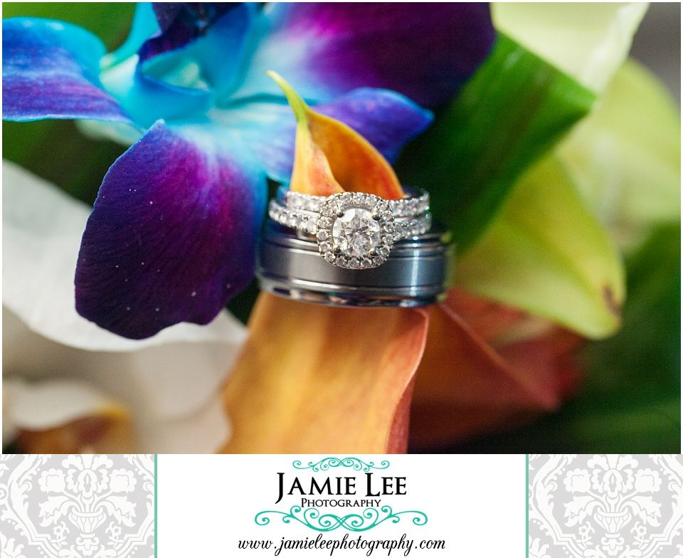 The Turtle Club | Naples Wedding Photographer | Jamie Lee Photography | Wedding Rings with Tropical Bouquet | Christie's Flowers and Gifts