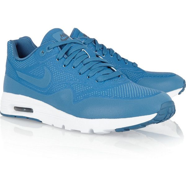 Nike Air Max 1 Ultra Moire faux suede sneakers (492.290 COP) ❤ liked on Polyvore featuring shoes, sneakers, nike footwear, lace up sneakers, light weight shoes, lace up shoes and perforated shoes