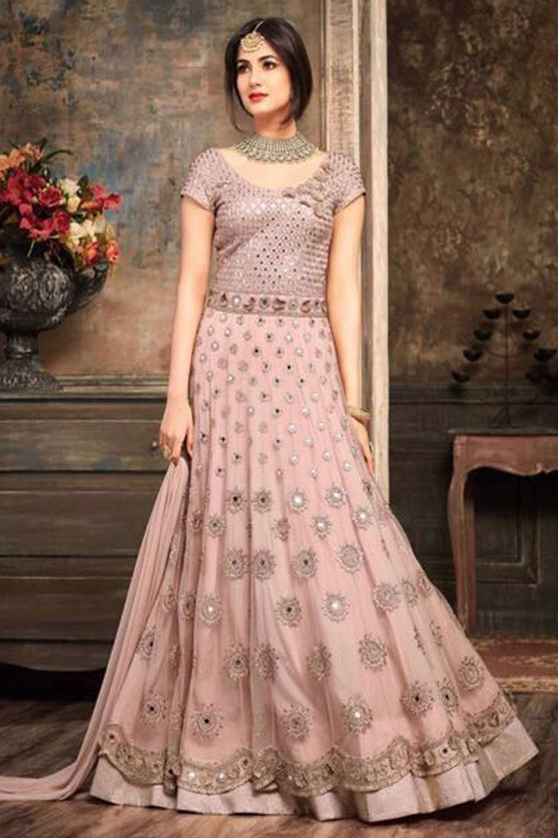Blush Pink color Net Fabric Heavy Embroidered Wedding Wear Stylish ...