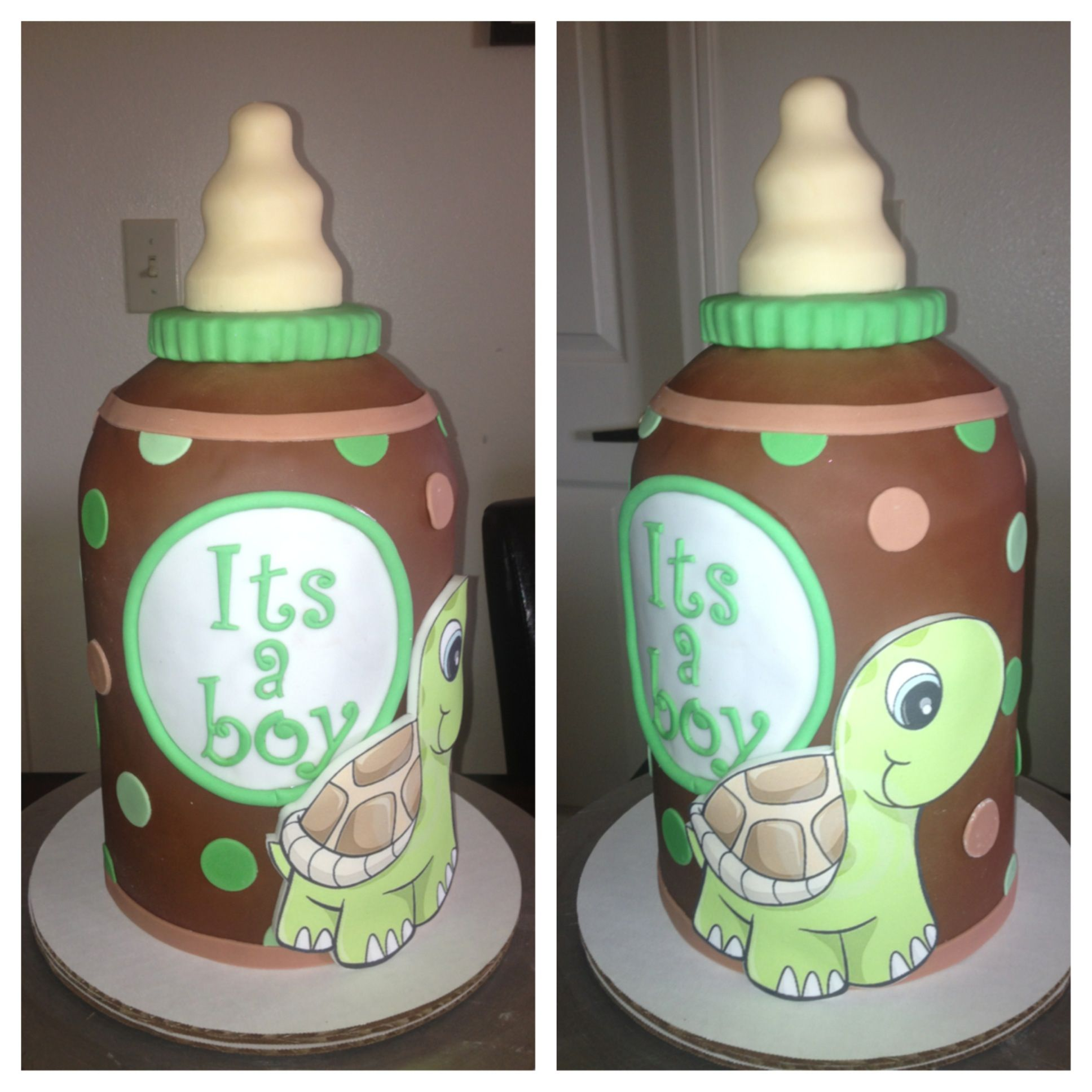 Baby Bottle Baby Shower Cake To Go Along With The