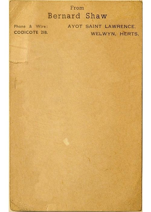 George Bernard Shaw   Source  Letterhead