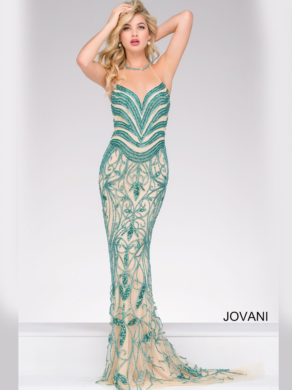 Beaded Collar Illusion Prom Gown by Jovani 50487Authorized Jovani ...