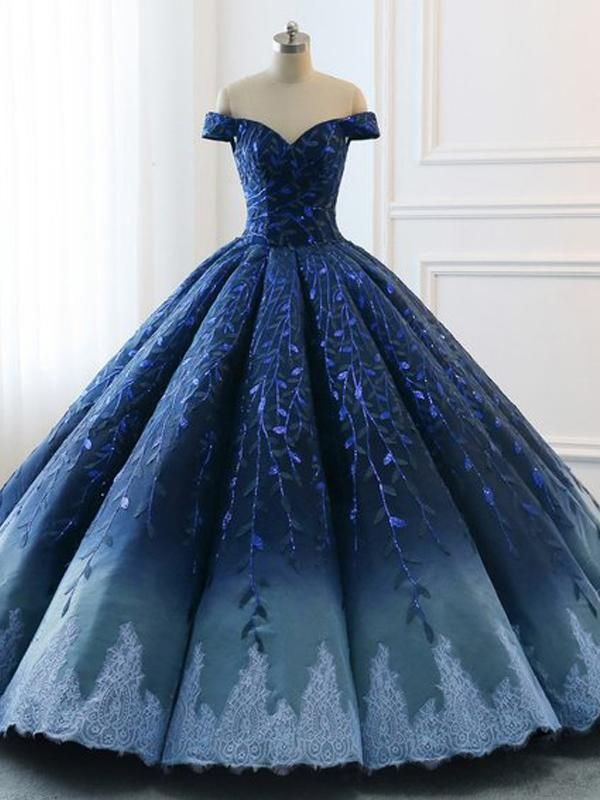 ef21ee7d8d6 Navy Lace Applique Off Shoulder Ball Gown Princess Prom Dresses The prom  dress is fully lined