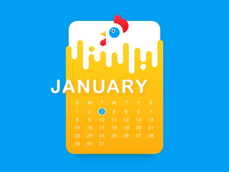 Rooster Calendar by sunm.lu - Dribbble