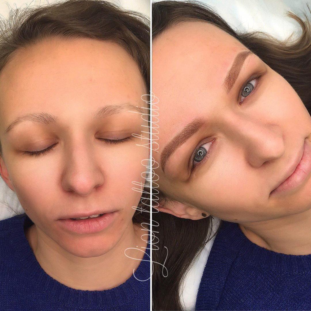 Studioliontattootverskaya Перманентный макияж бровей до и