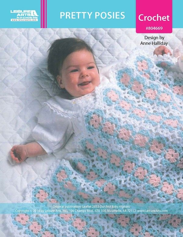 Pretty Posies Baby Afghan ePattern - Worked in strips of motifs that are joined as you go, this adorable afghan is abloom with pretty posies. A picot edging completes the dainty blanket.