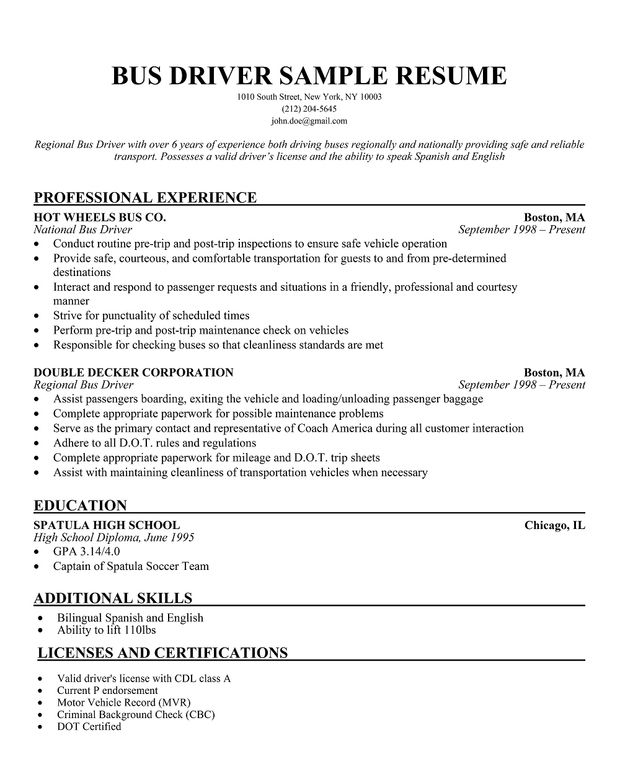 limousine driver resume taxi sample | Driving a school bus ...