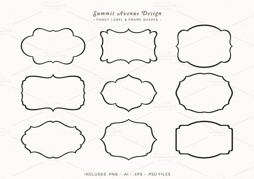 Fancy Frames Label Shapes Label Shapes Design Mockup Free Free Packaging Mockup