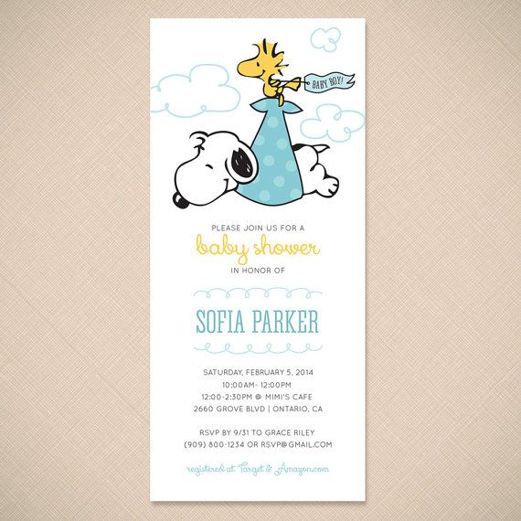Snoopy And Woodstock Stork Cute Baby Shower Invitation Printable