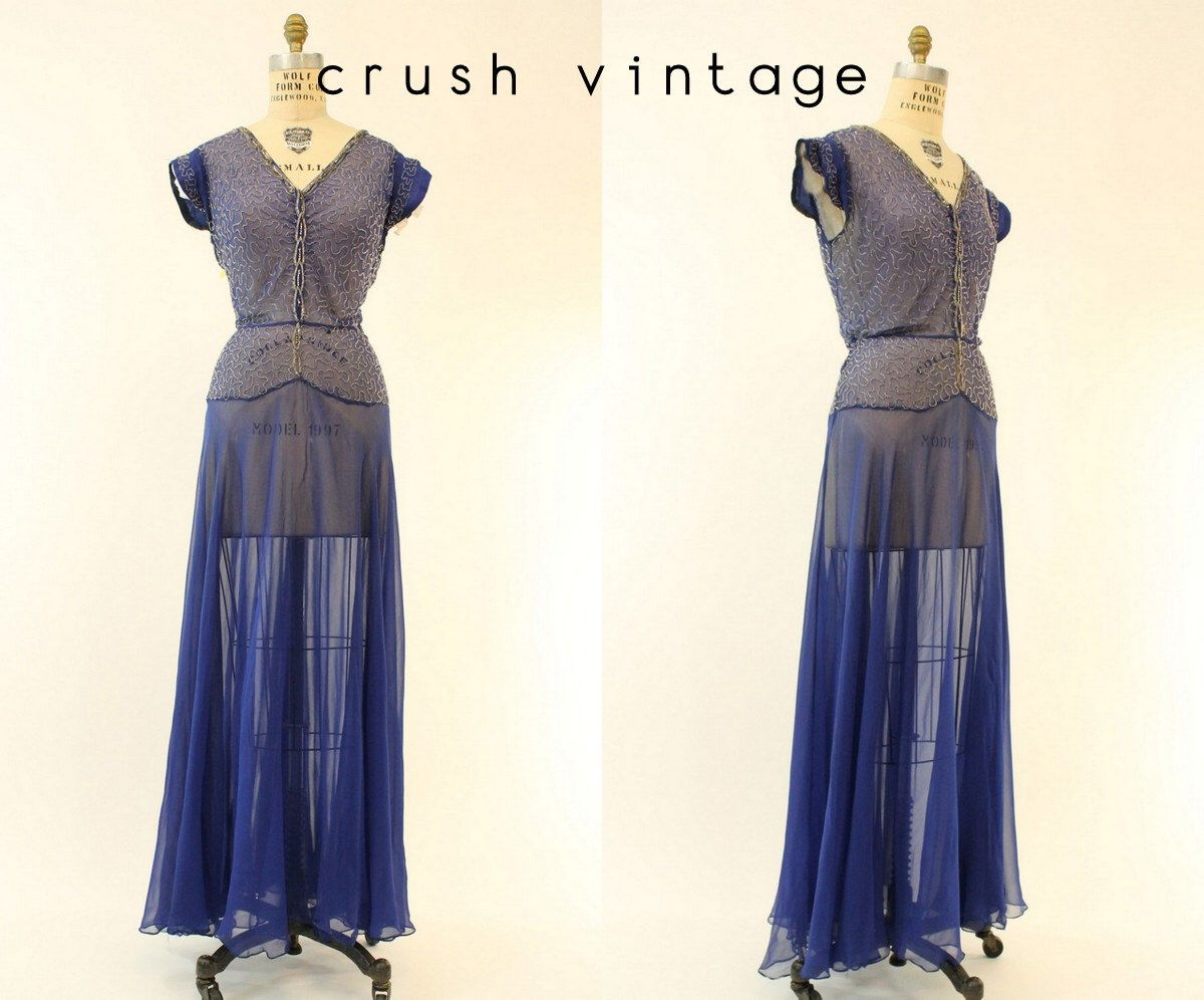 S sheer silk gown medium s blue beaded silk floor length