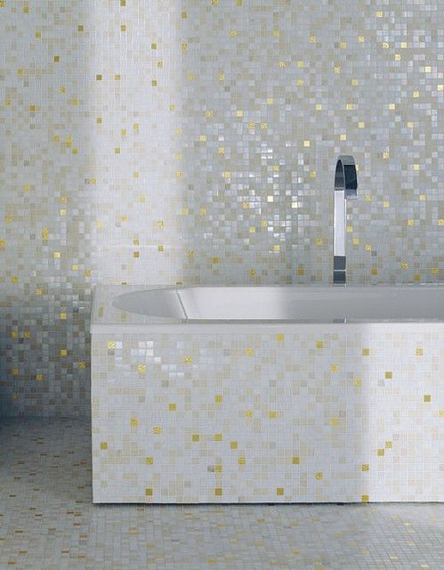 Mosaic Tile Bathroom with Bisazza White Gold Tile - badezimmer gold mosaik