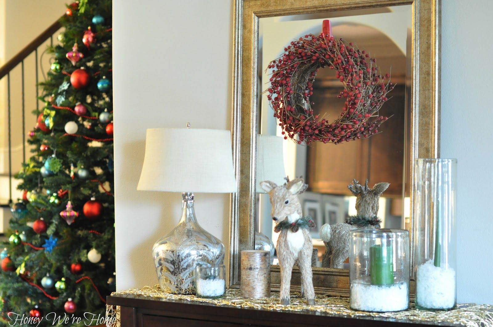 We love how @Megan {Honey We're Home} re-purposed her Gold Nest Runner from Thanksgiving onto her Christmas Mantle.