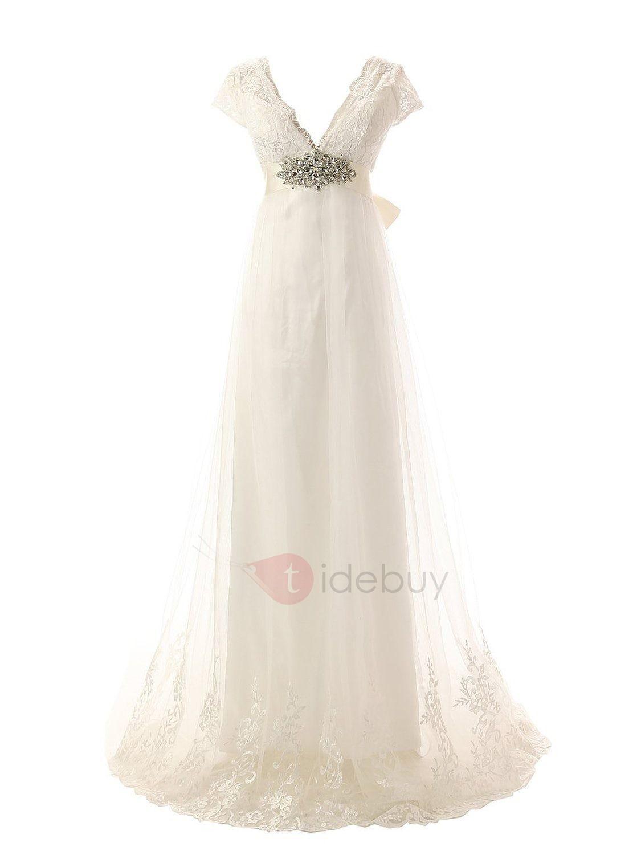 Appliques empire waist plus size wedding dress shabby chic wedding