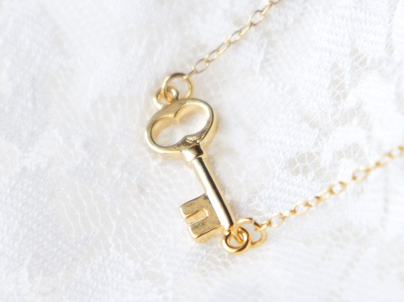 Gold Sideways Key Necklace Delicate 14k Gold Filled Chain
