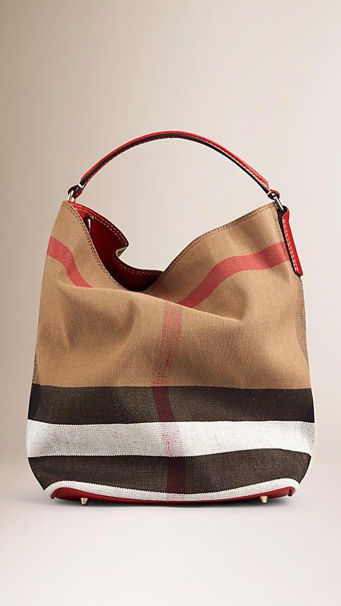 Cadmium red Medium Canvas Check Hobo Bag - Image 1   Bag Lady   Bags ... 0d22ae1e87