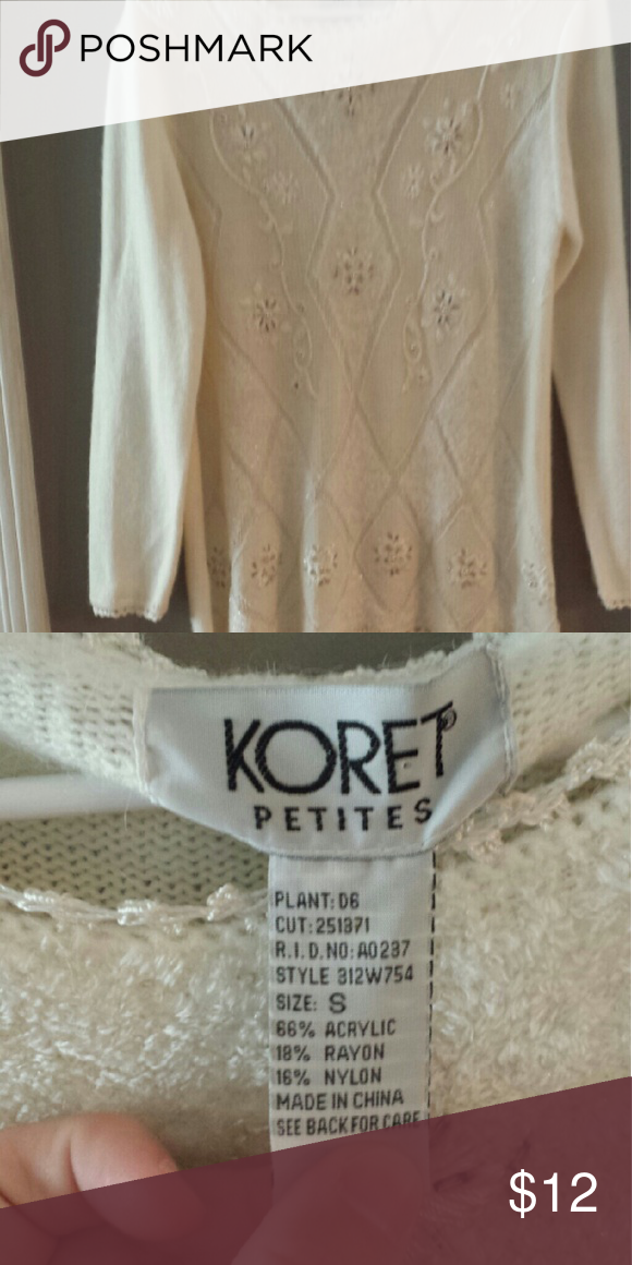 White beaded sweater Really pretty white sweater with beads. Great condition! Koret Sweaters