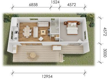 The floor plan for the jillaroo modular kit home from for Tiny house payment plan