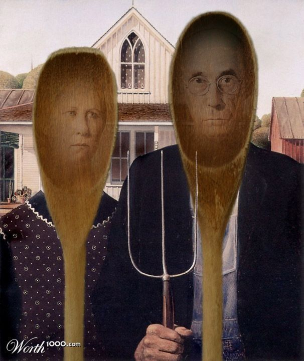 Worth 1000 Wooden Spoon Gothic American Gothic Parody American Gothic Grant Wood