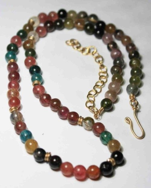 Multi Color Tourmaline and Gold Necklace Watermelon Pink Green Yellow from Qiet Mind on Etsy